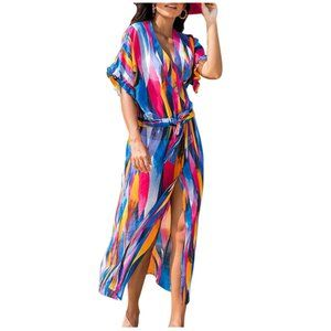 Printed Summer Long Cardigan Bikini Beach Cover Up